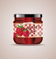 Himbeer-Marmelade-Paketdesign mit Glas-Modell