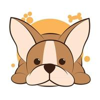 Farbe-Vektor-Illustration-Cartoon auf weißem Hintergrund einer süßen französischen Bulldogge. vektor