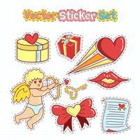 Alla hjärtans dag klistermärken Patches i Doodle Style. Vektor illustration