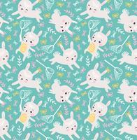 Kindisches nahtloses Muster mit Kaninchen und Schmetterlingen