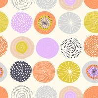 Vektor sömlösa mönster med bläck cirkel texturer