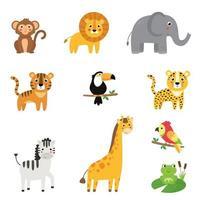 kindliche Sammlung von niedlichen afrikanischen Zeichentrickfilmtieren. vektor