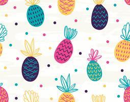 Sömlös ananas mönster med polka prickar vektor
