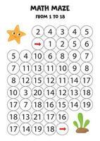 Mathe-Labyrinth von eins bis 18. niedliche Cartoon-Starfish und Algen. vektor