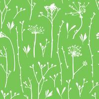 Vektor sömlösa mönster med silhuetter av blommor och gräs