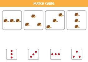 Kombiniere süße Cartoon-Igel und Karten mit Punkten. vektor