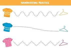 Verfolgen Sie die Linien zwischen T-Shirts und Kleiderbügeln. Lernspiel für Kinder. vektor