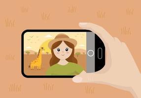 Selfie mit süßem Mädchen und Giraffe machen. Ausflug zur Safari. vektor