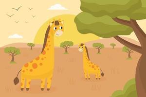 Afrikanische und Safari-Landschaft mit süßen glücklichen Giraffen. vektor