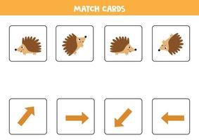 passendes Spiel für Kinder. Spielorientierung und Igel. vektor