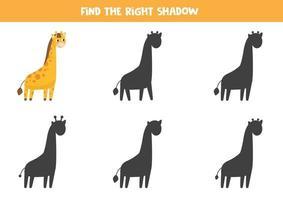 Finde den richtigen Schatten. süße lustige Giraffe. vektor