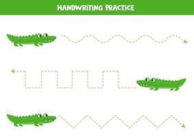Spurenlinien mit grünen Krokodilen. afrikanische Tiere. vektor