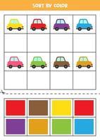 Bilder nach Farbe sortieren. süße Autos. Spiel für Kinder. schneiden und Kleben. vektor