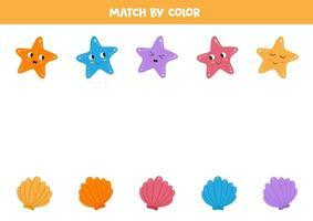 Farbabstimmungsspiel für Kinder. Muscheln und Seesterne. vektor
