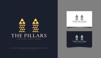 goldenes Säulenlogo oder Symbol, geeignet für Anwaltskanzleien, Investitionen oder Immobilienlogos vektor