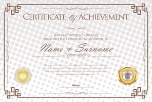 Designschablonen-Vektorillustration der Bescheinigung oder des Diplom Retro-