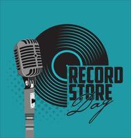 Svart vinyl rekord butik dag platt koncept vektor illustration