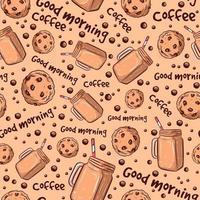 nahtloses Muster für Cafés mit Getränken und Schokoladenkeksen. süßer, sich wiederholender Hintergrund mit Gebäck. Kekse und alkoholfreie Getränke zum Frühstück mit Guten-Morgen-Text. vektor