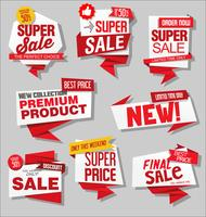 Moderne Verkaufsfahnen und Aufklebersammlung