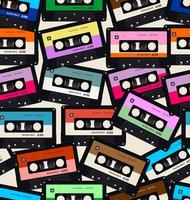 Seamless mönster med gamla ljudkassetter färgstark bakgrund