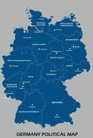 deutschland politische karte teilen nach zustand bunte umrisse einfachheitsstil vektor