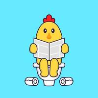 Süßes Huhn, das auf Toilette kackt und Zeitung liest. Tierkarikaturkonzept isoliert. kann für T-Shirt, Grußkarte, Einladungskarte oder Maskottchen verwendet werden. flacher Cartoon-Stil vektor