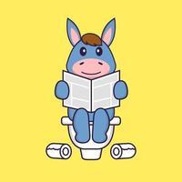 Süßes Lama, das auf Toilette kackt und Zeitung liest. Tierkarikaturkonzept isoliert. kann für T-Shirt, Grußkarte, Einladungskarte oder Maskottchen verwendet werden. flacher Cartoon-Stil vektor