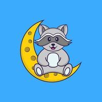 Der süße Waschbär sitzt auf dem Mond. Tierkarikaturkonzept isoliert. kann für T-Shirt, Grußkarte, Einladungskarte oder Maskottchen verwendet werden. flacher Cartoon-Stil vektor