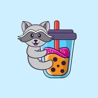 süßer Waschbär, der Boba-Milchtee trinkt. Tierkarikaturkonzept isoliert. kann für T-Shirt, Grußkarte, Einladungskarte oder Maskottchen verwendet werden. flacher Cartoon-Stil vektor