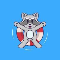 söt tvättbjörn simmar med en boj. djur tecknad koncept isolerad. kan användas för t-shirt, gratulationskort, inbjudningskort eller maskot. platt tecknad stil vektor