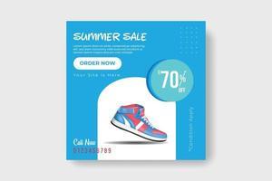 Schuhe Social-Media-Banner, Post-Vorlagen-Design. Sommerverkauf blau-weiße Farbfahne. vektor