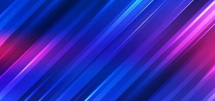 abstrakte Technologie futuristischer Hintergrund Neonlichter bewirken glänzende gestreifte Linien blaue und rosa Verlaufsfarbe. vektor