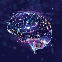 Neuronenzellen mit Glühen im menschlichen Gehirn vektor