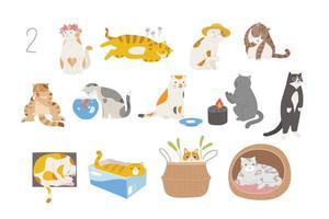 süße und lustige Katzen verschiedener Rassen. handgezeichnete Stilvektordesignillustrationen. vektor