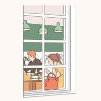 Die Leute, die im Restaurant essen, können durch das Fenster gesehen werden. handgezeichnete Stilvektordesignillustrationen. vektor