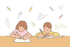 Süßer Junge und Mädchen sitzen am Schreibtisch und lernen. handgezeichnete Stilvektordesignillustrationen. vektor
