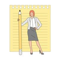 eine Frau steht mit einem großen Bleistift. handgezeichnete Stilvektordesignillustrationen. vektor