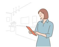 eine Geschäftsfrau schaut sich Dokumente an. handgezeichnete Stilvektordesignillustrationen. vektor