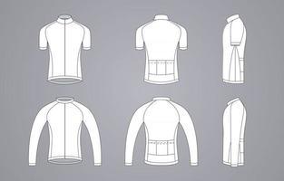 Kleidung weißes Fahrrad-Trikot-Vorlage vektor