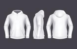 weiße Hoodie-Vorlage im realistischen Stil vektor