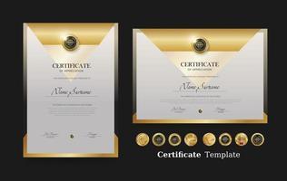 Vorlage für Anerkennungszertifikat und Vektor-Luxus-Premium-Abzeichen vektor