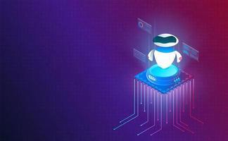 isometrisk robot på processorchip på systemnätets bakgrund. futuristiskt koncept. vektor och illustration