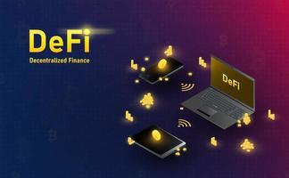 futuristische Defi-Blockchain-Hologramm-Laptop-Smartphone- und Tablet-Verbindung. Zukunftskonzept.Vektor und Illustration vektor