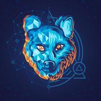 geometrischer Wolf mit halbem Polygonstil vektor