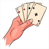 Glücksspiel. Spielkarten in der Hand. Casino, Glück, Fortuna. vier Asse. vektor