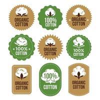 Baumwolletikett und Embleme für Kleidung vektor