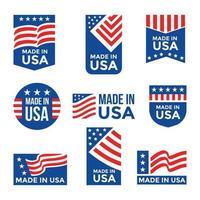 Hergestellt im USA-Etiketten-Set vektor