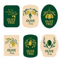 Set von Olivenbaum-Logos vektor