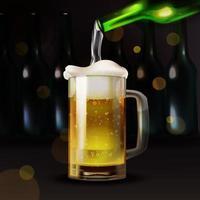 realistisches Bier, das in ein Glas gießt vektor