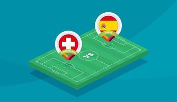 schweiz gegen spanien match vector illustration fußballmeisterschaft 2020